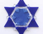 Fused Glass Star of David Ornament: medium blue & cobalt blue - jewish star, hanukkah decoration, winter decoration, grandma gift