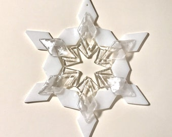 Turquoise /& White Fused Glass Snowflake Ornament