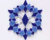 Fused Glass Snowflake Ornament / Suncatcher: cobalt blue, medium blue & clear - skier gift, winter birthday gift, winter solstice gift