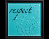 Respect fused glass wall art (framed) - wedding gift, retirement gift, engagement gift, water art