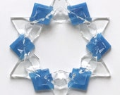 Fused Glass Snowflake Ornament / Suncatcher: blue/clear - skier birthday gift, winter birthday gift, teacher gift, client gift, artist gift
