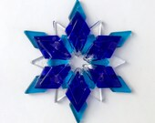 Fused Glass Snowflake Ornament/Suncatcher: cobalt blue, turquoise & clear - client gift, teacher gift, winter solstice gift, gratitude gift
