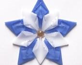 Fused Glass Colorado Columbine Ornament / Suncatcher: light blue, white & gold - gardener gift, fused glass flower, colorado gift, mom gift