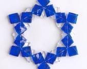 Fused Glass Snowflake Ornament / Suncatcher:  blue & clear - skier gift, winter birthday gift, teacher gift, winter solstice gift
