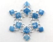 Fused Glass Snowflake Ornament / Suncatcher: Egyptian blue & clear - christmas decoration, fused glass star, skier gift