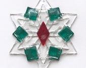 Christmas Star Ornament / Suncatcher: red, green & clear - teacher gift, Christmas ornament, mom gift, hostess gift, stocking stuffer