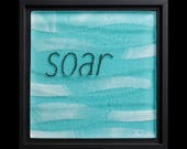 Soar fused glass wall art (framed) - graduation gift, retirement gift, water-inspired art, recovery gift