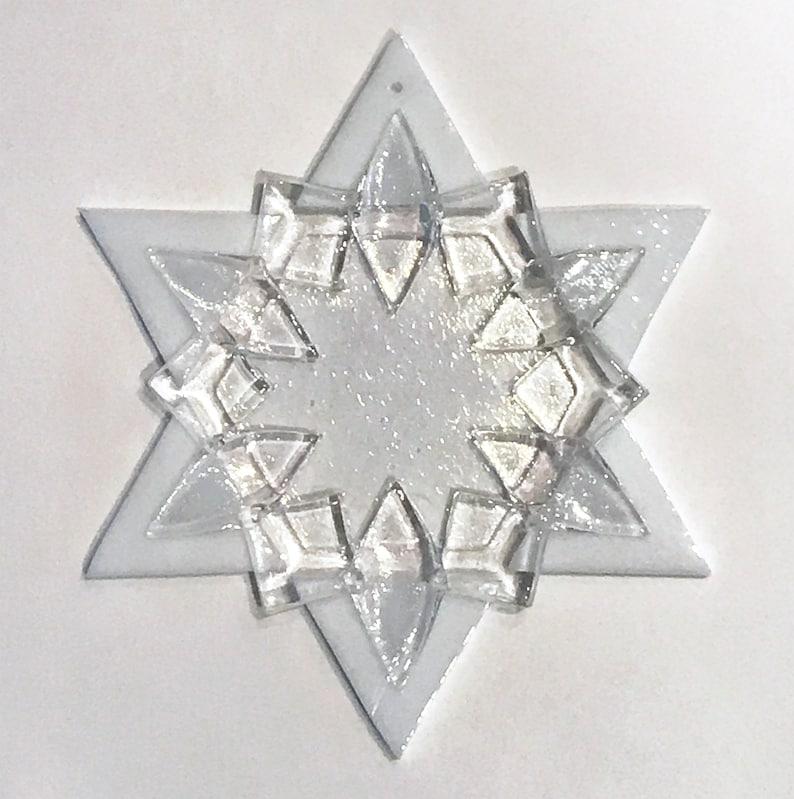 Fused Glass Star of David Ornament: white & clear  grandma image 1