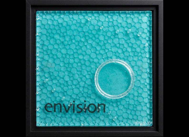 Envision fused glass wall art framed  gift for artist image 0