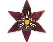 Fused Glass Fuchsia & White Lily Ornament/Suncatcher - gardener gift, Easter gift, glass flower, artist gift, new baby gift, birthday gift