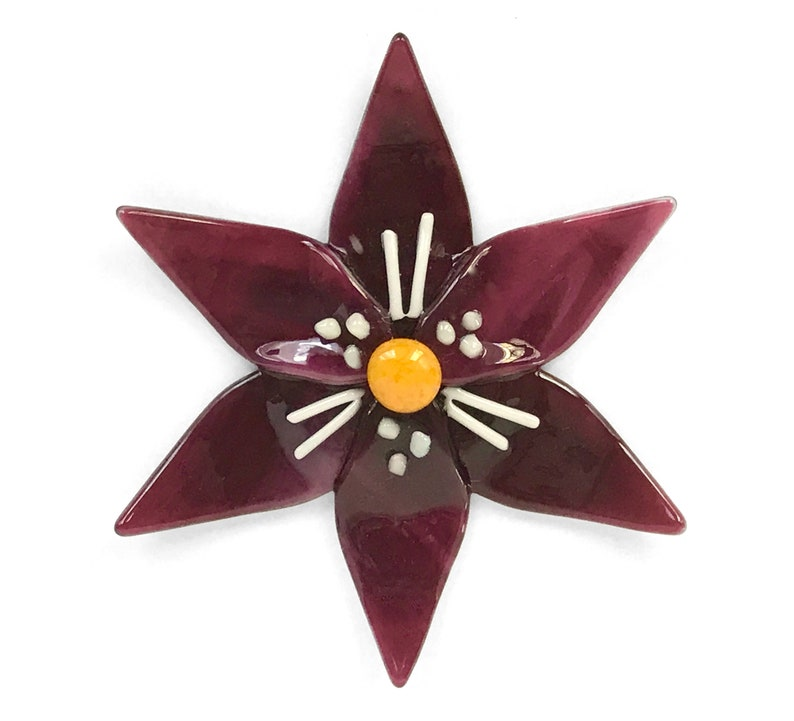 Fused Glass Fuchsia & White Lily Ornament/Suncatcher  image 1