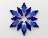 Fused Glass Snowflake Ornament / Suncatcher:  cobalt blue & milky white - skier gift, winter birthday gift, best friend gift, Hanukkah gift
