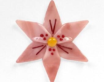 Fused Glass Pink & Red Lily Ornament/Suncatcher - gardener gift, mothers day gift, glass flower, artist gift, get well gift, birthday gift