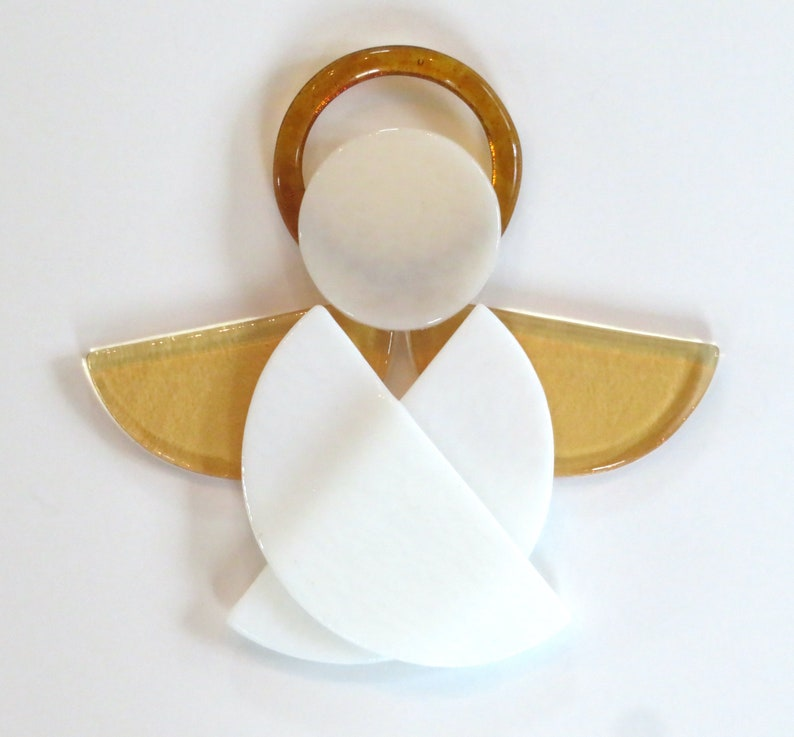 White Fused Glass Angel Ornament  christmas angel easter image 1