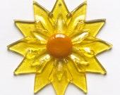 Fused Glass Yellow Double Daisy Ornament/Suncatcher - gardener gift, mothers day gift, client gift, artist gift, get well gift, grandma gift