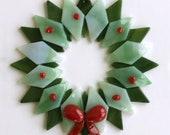 Fused Glass Christmas Wreath Ornament - teacher gift, office gift, christmas decoration, grandma gift, client gift, wreath ornament