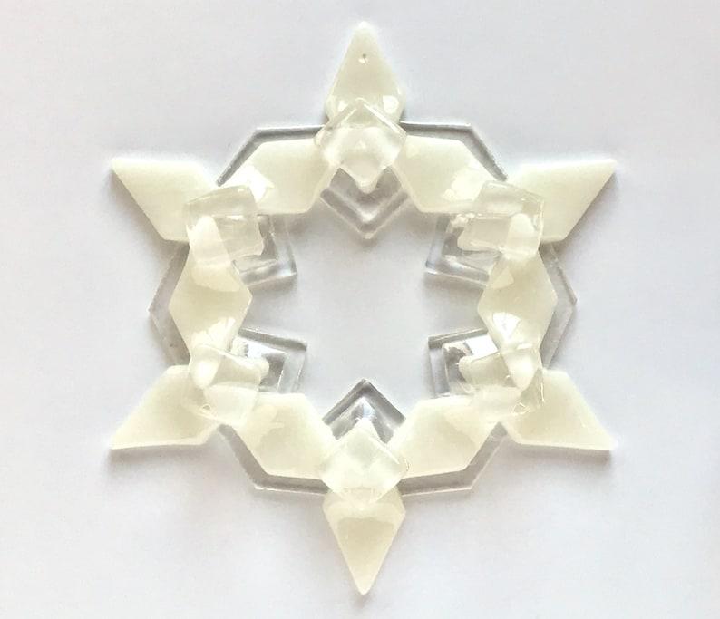 Fused Glass Snowflake Ornament / Suncatcher: warm white & image 1