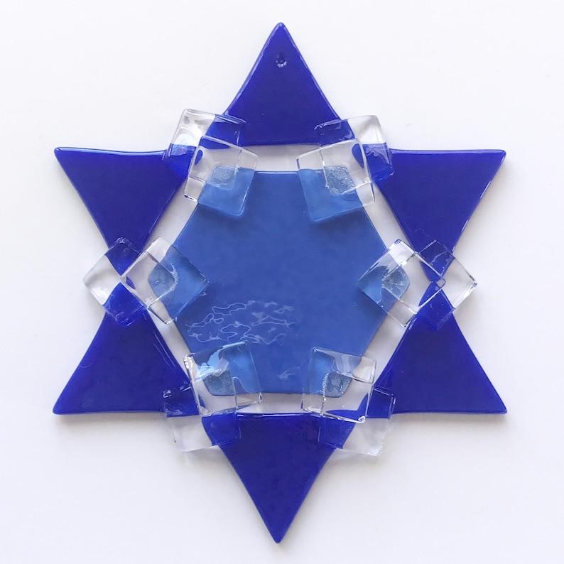 Fused Glass Star of David Ornament: medium blue & cobalt blue image 1