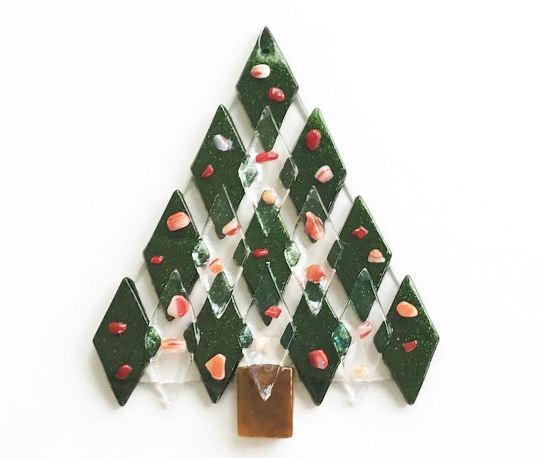 Fused Glass Christmas Tree Ornament Suncatcher  teacher gift image 1