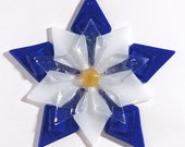 Fused Glass Colorado Columbine Ornament / Suncatcher: cobalt blue, white & gold - gardener gift, fused glass flower, colorado gift, mom gift