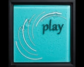 Play fused glass wall art (framed) - birthday gift, anniversary gift, retirement gift, water-inspired art, mothers day gift