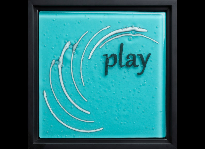 Play fused glass wall art framed  birthday gift image 1