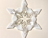 Fused Glass Snowflake Ornament / Suncatcher: bright white & iridized clear - christmas decoration, thank you gift, skier gift, solstice gift