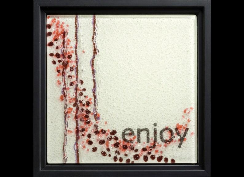 Enjoy fused glass wall art framed  retirement gift image 1