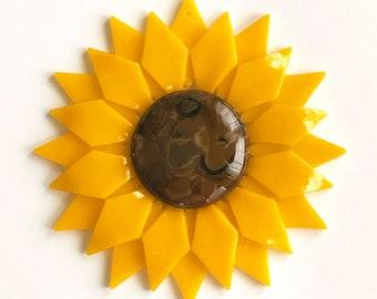 Fused Glass Yellow Sunflower Ornament/Suncatcher - gardener gift, fused glass flower, christmas ornament, grandma gift, birthday gift