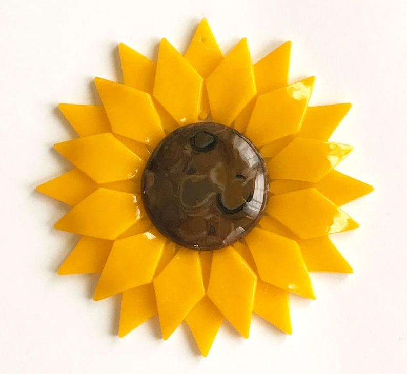 Fused Glass Yellow Sunflower Ornament/Suncatcher  gardener image 1