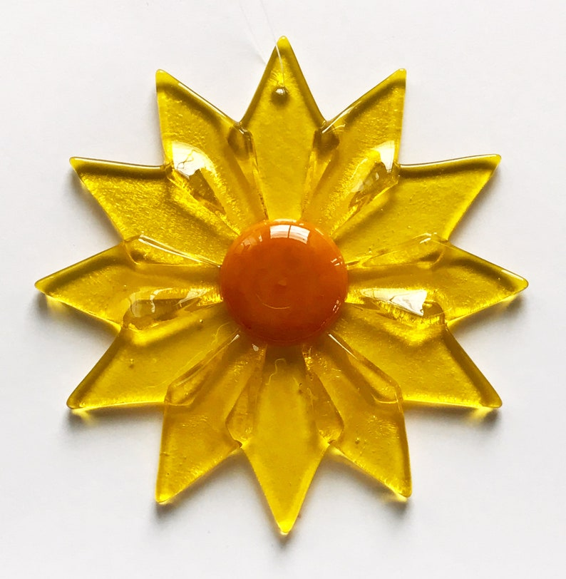 Fused Glass Yellow Daisy Ornament/Suncatcher  gardener gift image 1