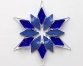 Fused Glass Snowflake Ornament / Suncatcher: cobalt blue, sky blue, clear - skier gift, winter birthday gift, winter solstice gift, Hanukkah