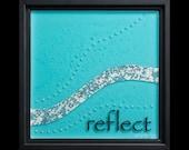 Reflect fused glass wall art (framed) - retirement gift, anniversary gift, graduation gift, river-inspired art