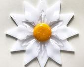 Fused Glass White Double Daisy Ornament/Suncatcher - gardener gift, teacher gift, glass flower, get well gift, Christmas gift, birthday gift
