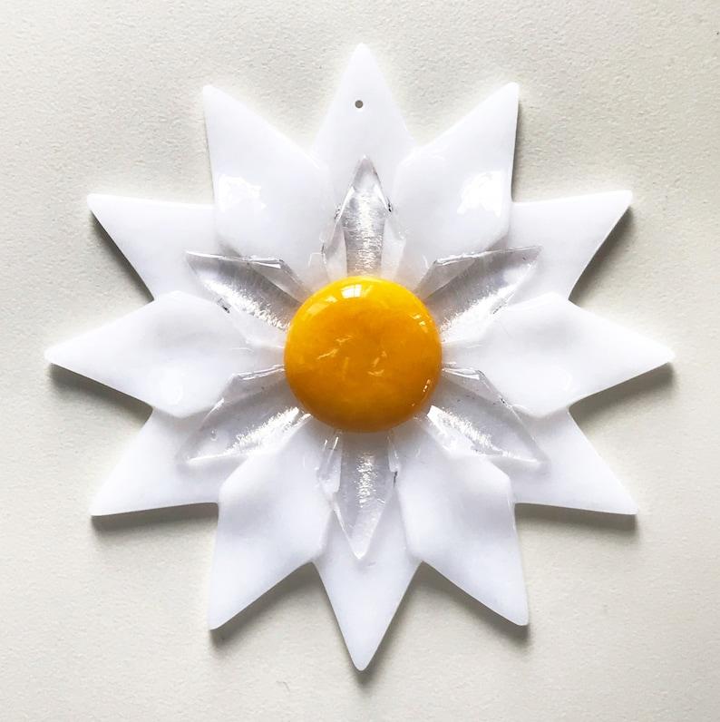 Fused Glass White Double Daisy Ornament/Suncatcher  gardener image 1