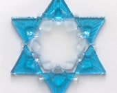 Fused Glass Star of David Ornament: turquoise, white & clear - jewish star, Hanukkah decoration, Hanukkah gift, grandma gift, rabbi gift