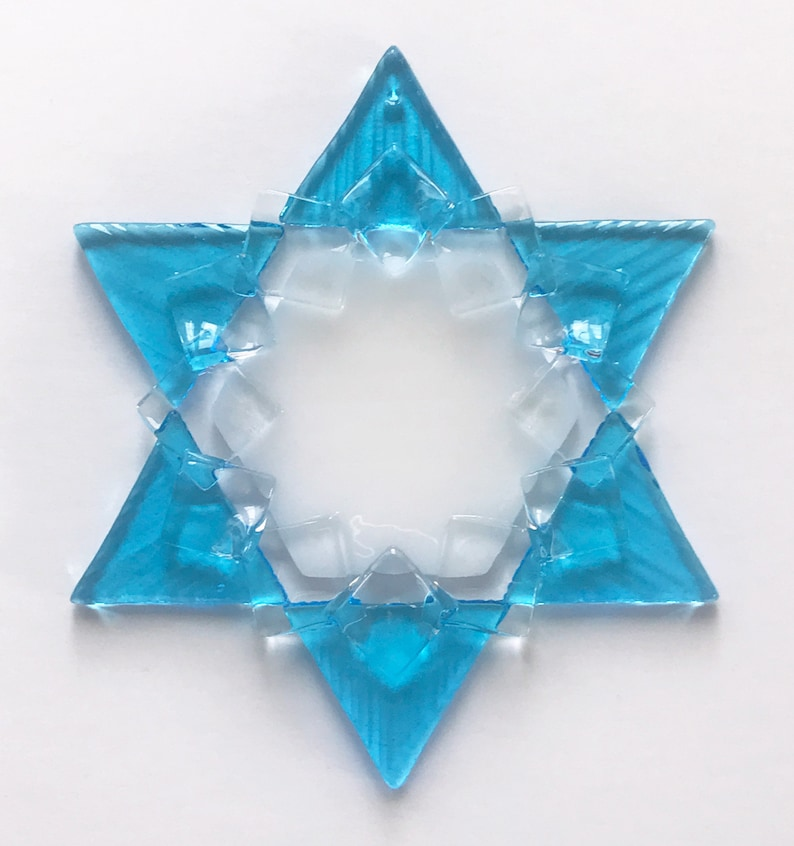 Fused Glass Star of David Ornament: turquoise white & clear  image 1