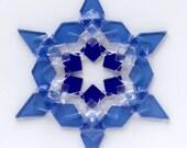 Fused Glass Snowflake Ornament / Suncatcher: cobalt blue, sky blue & clear - skier birthday gift, winter birthday gift, winter solstice gift
