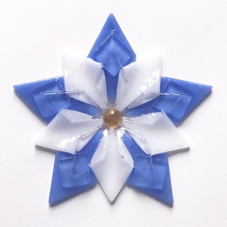 Fused Glass Colorado Columbine Ornament / Suncatcher: light image 1