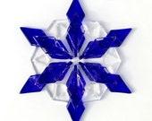 Fused Glass Snowflake Ornament / Suncatcher:  cobalt blue & clear - skier gift, winter birthday gift, christmas gift, winter solstice gift