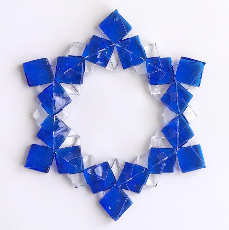 Fused Glass Snowflake Ornament / Suncatcher:  blue & clear  image 1