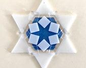 LAST ONE! Kiln-fired Fused Glass Star of David Ornament: white & sky blue - grandma gift, rabbi gift, hostess gift