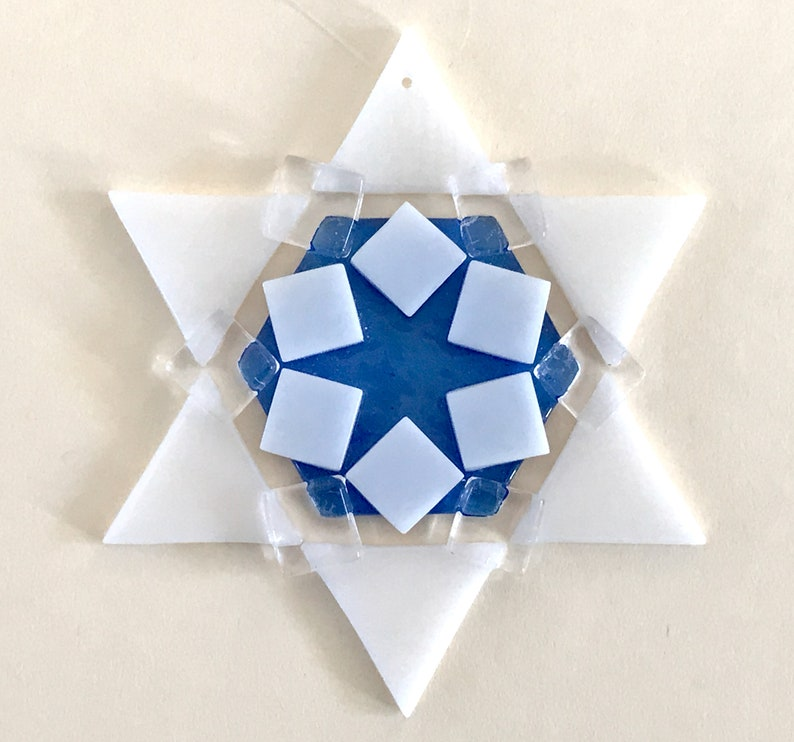 LAST ONE Kiln-fired Fused Glass Star of David Ornament: white image 1