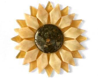 Fused Glass Light Gold Sunflower Ornament/Suncatcher - gardener gift, mothers day gift, fused glass flower, teacher gift, hospital gift