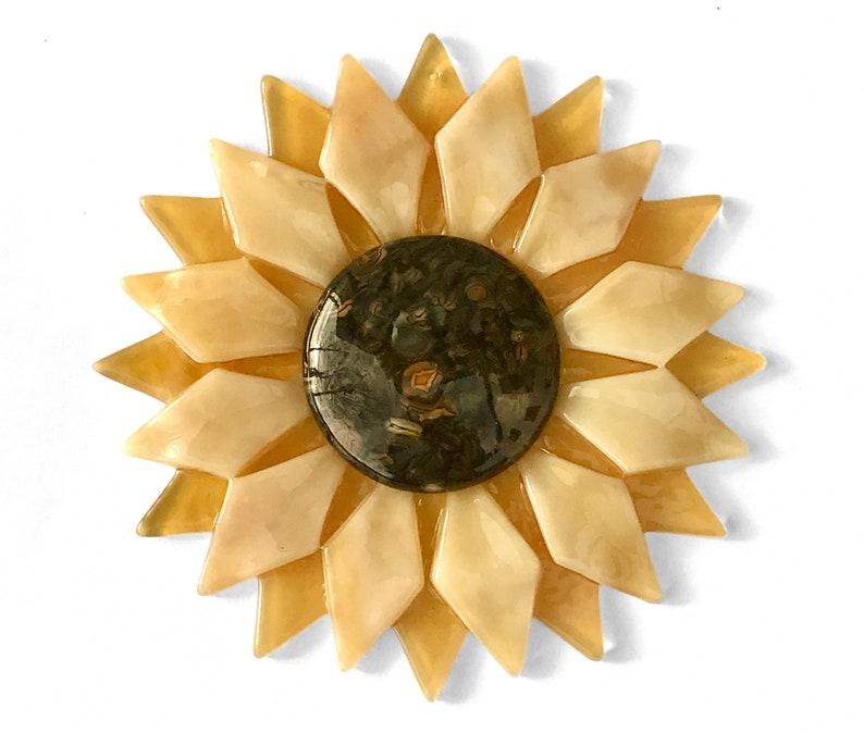 Fused Glass Light Gold Sunflower Ornament/Suncatcher  image 1