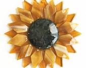 Fused Glass Gold Sunflower Ornament/Suncatcher - gardener gift, teacher gift, fused glass flower, christmas ornament, hospital gift