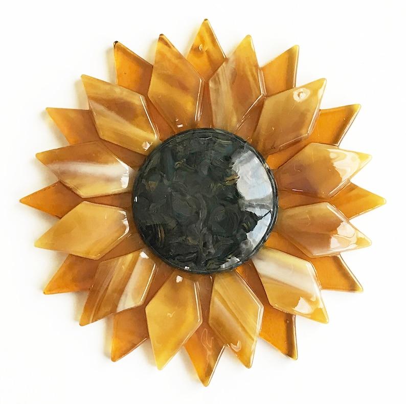 Fused Glass Gold Sunflower Ornament/Suncatcher  gardener image 1