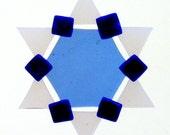 Fused Glass Star of David Ornament: blue, cobalt blue, semi-opaque white - jewish star, hanukkah decoration, grandma gift, judaica gift