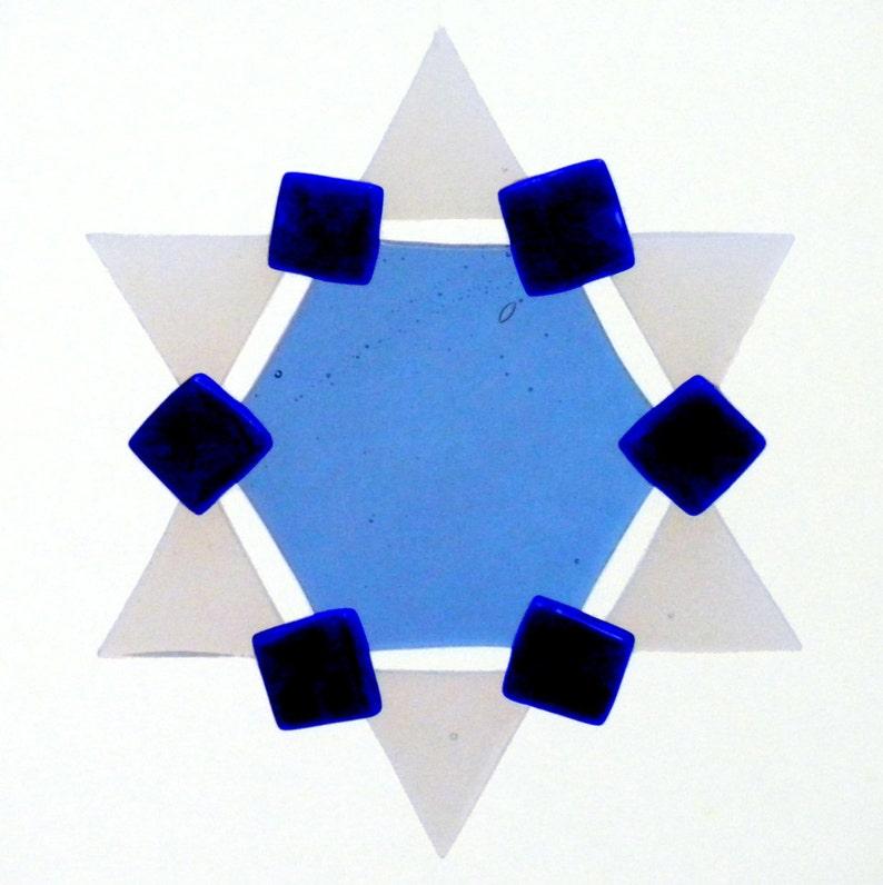 Fused Glass Star of David Ornament: blue cobalt blue image 1