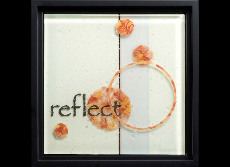 Reflect fused glass wall art framed  wedding gift image 0